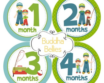 Western monthly baby stickers cowboy baby shower gift for baby for Fishing shirt of the month