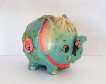 Vintage Holiday Fair Turquoise Blue Ceramic Elephant Bank 1968 Japan
