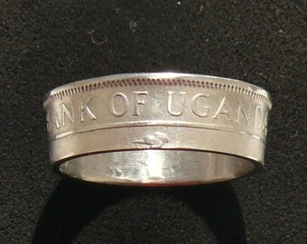Ladies 1966 Uganda 50 Cents Coin Ring, Ring Size 6 1/2 and Double Sided