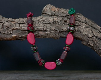 Unique wooden and textile necklace, rustic statement jewelry in magenta and green, OOAK