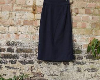 1950s style pencil skirt in heavy navy/ midnight linen