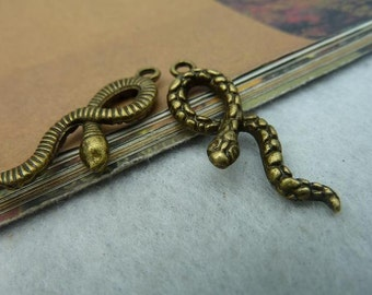 20pcs 11*33mm antique bronze snake charms pendant C2416