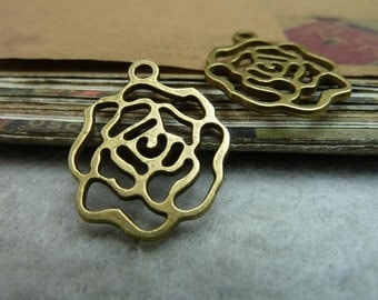 30pcs 20*25mm antique bronze rose flower charms pendant C7222