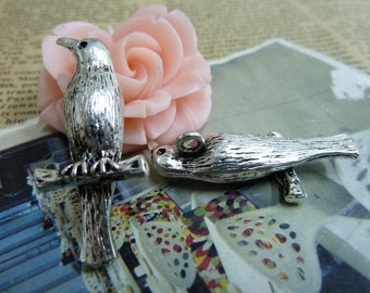5pcs 8*15*35mm antique silver bird charms pendant B350