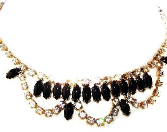 "Black & White Rhinestone Bib Necklace High End Gold Metal Hook Clasp 15 1/2"" Vintage"