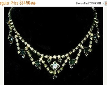 "Rhinestone Bib Necklace Choker Style Yellow & Smoke Color Stones Gold Metal 15"" Vintage"