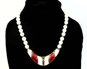 "Red White Beaded Bib Necklace Lucite Enamel Gold Metal Trim Holidays 18"" Vintage"