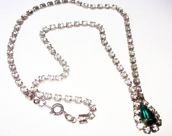 """Green Rhinestone Necklace Pendant Clear Ice Accents Silver Metal 18"""" Vintage"""