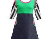 Pippi Longstocking_ womens jersey/denim dress with pockets_green/black/white/red