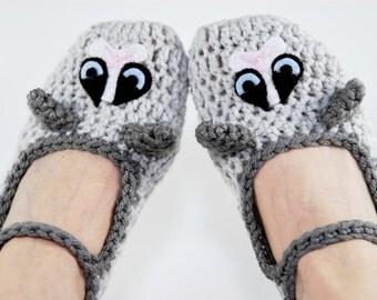 Crochet Grumpy Cat Slippers-Cat Slipper-Animal slippers-Women Accessories-Kawaii-Grey-Crochet Shoes-Crochet-Christmas Gift-Geek-Harajuku