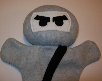 """11"""" Gray Fleece Ninja Hand Puppet - Ready to Ship!"""