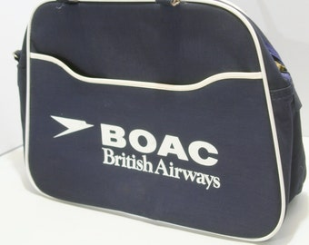 Vintage Vinyl British Overseas Airways Airlines BOAC Retro Souvenir Flight Tote Bag Logo Zipper Travel Cabin Bag Overnight Carry On Luggage