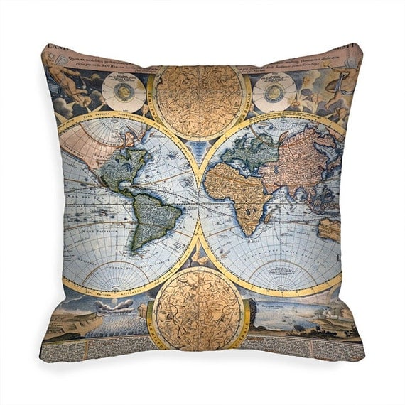 Throw Pillows With World Map : Blue Decorative Throw Pillow Cover Old World Map 18 x 18 inch