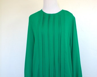 80's Emerald Green Pleated Sheer Blouse
