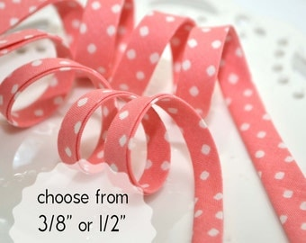 """rounded squares on pink - double fold, bias tape - 3 yards, CHOOSE 3/8"""" or 1/2"""" wide"""