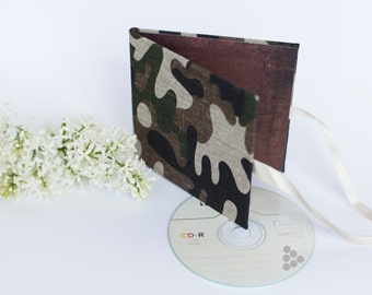 Single CD case DVD packaging for photographer - linen cover camouflage disc holder - Brown green beige