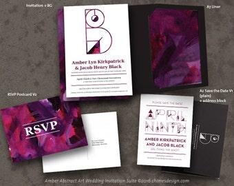 AMBER (Abstract Art) Geometric Monogram Invitation Suite Printables