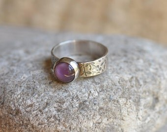 Sterling silver amethyst cabochon ring, hand forged, unique, oxidized