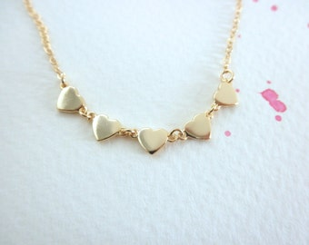 Multi gold heart necklace - gold vermeil heart  - mini heart necklace - 14K gold-filled chain -  - teeny tiny heart - dainty jewelry