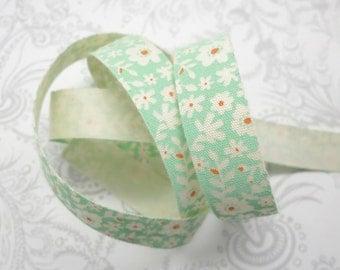 Aqua Floral Cotton Ribbon -- 3 yards -- 5/8 -- 16mm