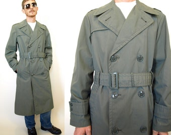 Vintage military issue mod army green Trench pea coat Jacket mens size 36R 36 small or medium