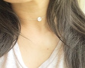 Personalized Choker Necklace with Initial Disc / Choker Initial Necklace / Choker initial(or blank) Necklace / in Gold, Rose Gold and silver