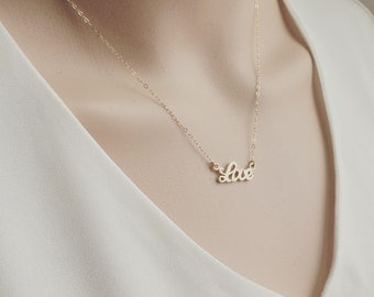 Love Necklace - Gold Love Pendent Necklace - Love Necklace - Minimalistic Jewelry, Gift for her - Gold Love Necklace