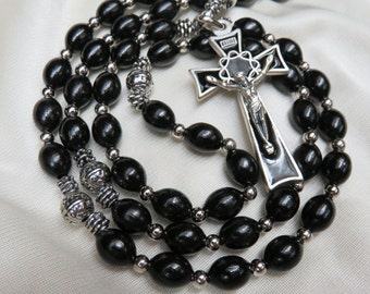 Beautiful Mans Large Black Wooden Rosary with Silver Crown of Thorns Crucifix with Black Enamel Inlay Black Beads Sacred Heart Jesus Center