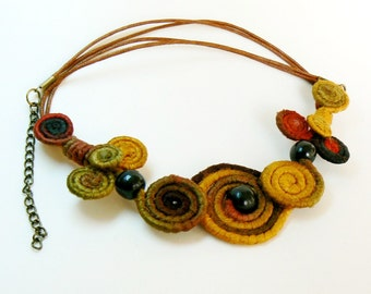 Wire wrapped Bib, Spiral necklace bib, Cute choker, Whimsical Short necklace, Wearable art jewelry, Unusual Brown Corn terracotta black bib,