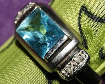 SWISS BLUE TOPAZ Diamond Ring c1960