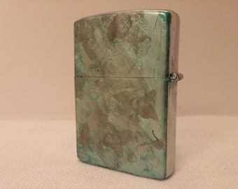 Vintage Custom OOAK Hand Painted My-Lite Korea FlipTop Lighter - rehabbed with new wick and flint, cleaned inside and out - Sea Ice