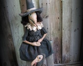 Primitive Halloween Handmade Wicked Witch Agatha and Her Buzzard