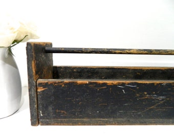 Vintage Black Wood Carrier Box with Handle