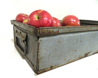 Vintage Metal Box with Handles Storage Box Industrial Metal Box Tray