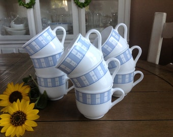 Set of 9 Martha Stewart Everyday Garden Trellis Blue and White Mugs Made in France