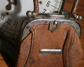 Vintage Tiny Leather Hand Purse, 1800s, Old Leather Purse, Child's Purse, Hand Purse, Tan Leather,