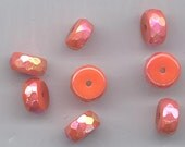 28 recent vintage glass beads - orange rondelles with luster - 10 x 5 mm