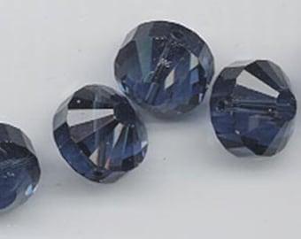 6 vintage Swarovski crystal beads -- rare style art. 5101 - 12 mm - montana blue