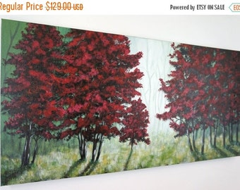 SALE 20% OFF Red Tree Painting Large Misty Forest Contemporary Original Abstract Modern Landscape on Canvas Silhouette Modern Surreal 18x36
