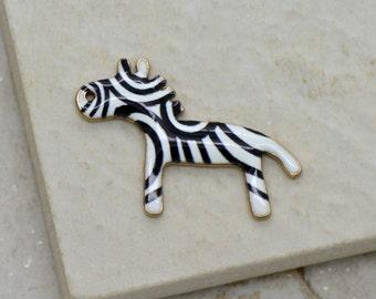 Wholesale Lot - Enamel Zebra Charm Black and White Zebra Animal 24K Gold Plated Brass  Zebra Pendant Vintage Jewelry Supplies (AS085)