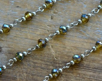 Glass Bead Chain AMBER AB Bead Chain 6mm Glass Beads on Silver Wire Necklace Bracelet Rosary Chain Jewelry Making (EC058)