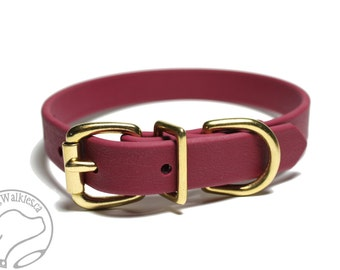 "Wine Merlot Biothane Dog Collar - 3/4"" (19mm) wide - Burgundy - Custom Collar - Leather Look and Feel - Stainless Steel or Brass Hardware"