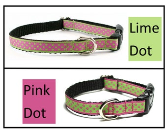 """Lime Dots or Pink Dots Dog Collar - 1/2"""" (13mm) - Thin Collar - your choice of style, pattern and size - Small Dog Collar"""