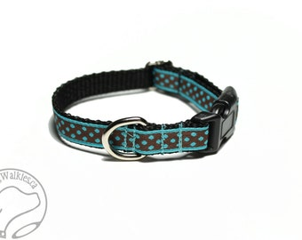 "Chocolate Dots or Teal Dots - Thin Dog Collar - 1/2"" (13mm) - your choice of dot color and style - Martingale or Quick Side Release Buckle"