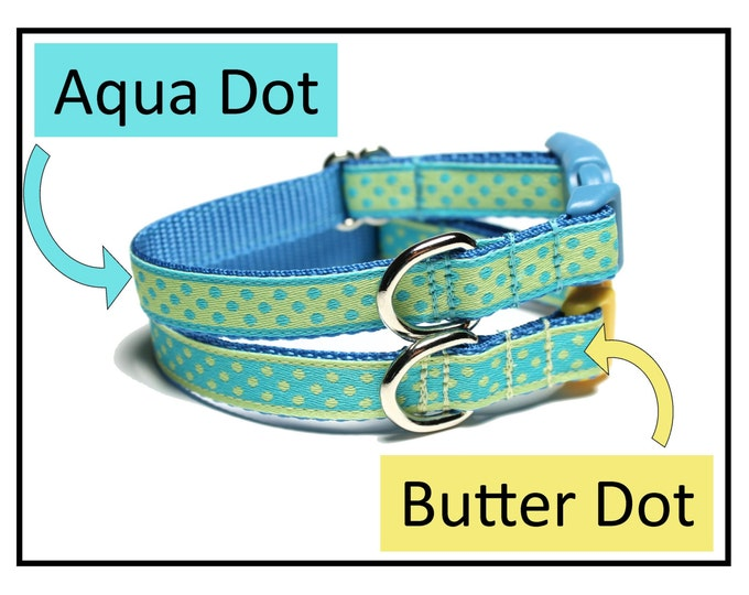 """Featured listing image: Aqua Dots or Butter Dots Dog Collar - 1/2"""" (13mm) wide - Thin Dog Collar - your choice of size, color and style - small dot"""