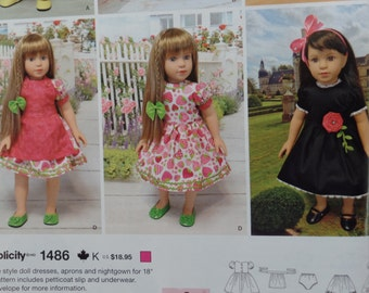"18 inch Doll Clothes Pattern, 18"" Doll Clothes Pattern, 18 in Doll Clothes Pattern, Simplicity 1486 sewing pattern"