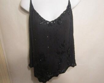 DKNY Sheer Silk Black Sequin Top