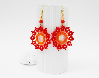 Crochet earrings- Crochet jewelry - Fashion crochet - Large earrings - Round earrings - Red and orange