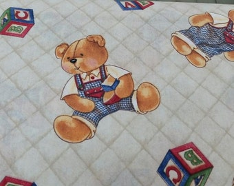 Teddy Bear alphabet blocks, Vintage Daisy Kingdom Teddy Bear Fabric By The Yard Coordinate