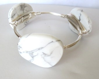 "Beautiful Quality Howlite Slab Bangle Bracelet ""Bourbon and Bowties"" Inspired"